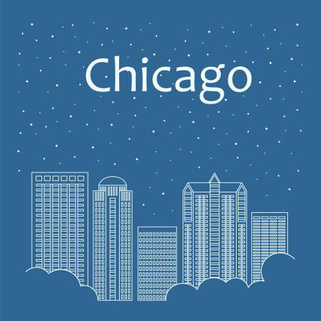 daytime: Metropolis in a linear style - the snow is falling. Night life and starry sky in Chicago. Building city of Chicago - line style