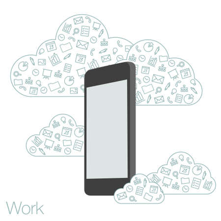 programs: Cloud technologies and services in the smartphone. Tools and programs on mobile devices. Presentation apps for startup. Illustration of cloud software in the mobile.