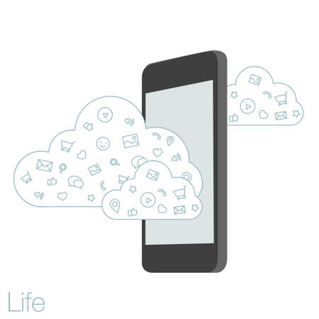geolocation: Cloud technologies and services in the smartphone. Tools and programs on mobile devices. Presentation apps for startup. Illustration of cloud software in the mobile.