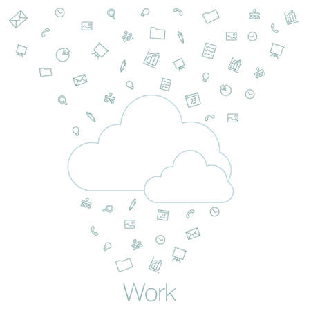 programs: Cloud technologies and services in smartphone, tablet, desktop. Tools and programs on mobile devices. Illustration of cloud software in the mobile.