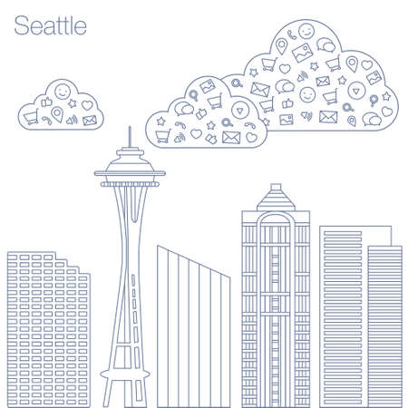 metropolis: Cloud technologies and services in the world wide web. Hackathon, workshop, seminar, lecture in the metropolis Seattle. The city is in a flat style for presentations, posters, banners.