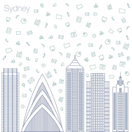 timing the market: Cloud technologies and services in the world wide web. Hackathon, workshop, seminar, lecture in the metropolis Sydney. The city is in a flat style for presentations, posters, banners.