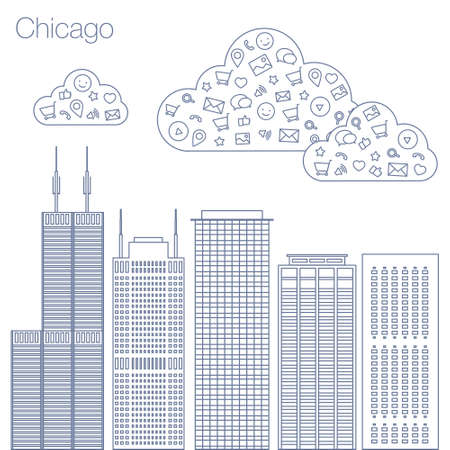metropolis: Cloud technologies and services in the world wide web. Hackathon, workshop, seminar, lecture in the metropolis Chicago. The city is in a flat style for presentations, posters, banners. Illustration