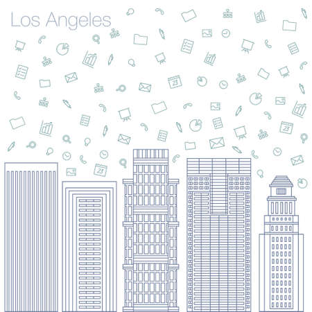 metropolis: Cloud technologies and services in the world wide web. Hackathon, workshop, seminar, lecture in the metropolis Los Angeles. The city is in a flat style for presentations, posters, banners. Illustration