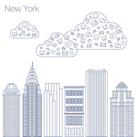 geolocation: Cloud technologies and services in the world wide web. Hackathon, workshop, seminar, lecture in the metropolis New York. The city is in a flat style for presentations, posters, banners. Illustration