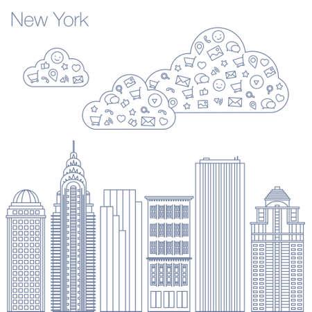 las tecnologías de nube y servicios en la World Wide Web. Hackathón, taller, seminario, conferencia en la metrópoli de Nueva York. La ciudad está en un estilo plano para presentaciones, carteles, pancartas.