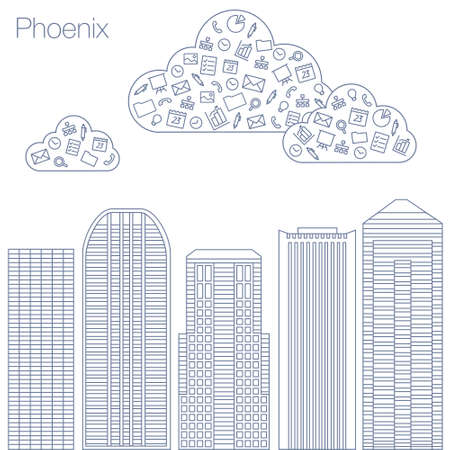 workshop seminar: Cloud technologies and services in the world wide web. Hackathon, workshop, seminar, lecture in the metropolis Phoenix. The city is in a flat style for presentations, posters, banners.