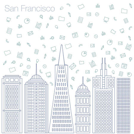 metropolis: Cloud technologies and services in the world wide web. Hackathon, workshop, seminar, lecture in the metropolis San Francisco. The city is in a flat style for presentations, posters, banners. Illustration