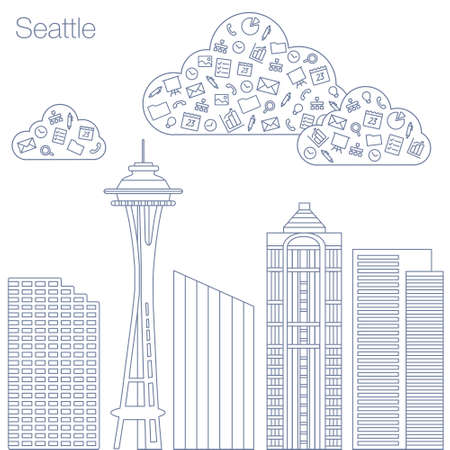 geolocation: Cloud technologies and services in the world wide web. Hackathon, workshop, seminar, lecture in the metropolis Seattle. The city is in a flat style for presentations, posters, banners.