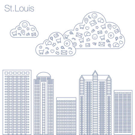 metropolis: Cloud technologies and services in the world wide web. Hackathon, workshop, seminar, lecture in the metropolis St.Louis. The city is in a flat style for presentations, posters, banners.