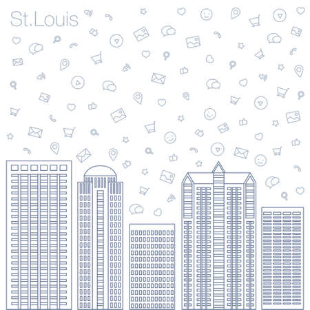 workshop seminar: Cloud technologies and services in the world wide web. Hackathon, workshop, seminar, lecture in the metropolis St.Louis. The city is in a flat style for presentations, posters, banners.