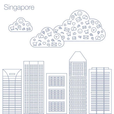 metropolis: Cloud technologies and services in the world wide web. Hackathon, workshop, seminar, lecture in the metropolis Singapore. The city is in a flat style for presentations, posters, banners.