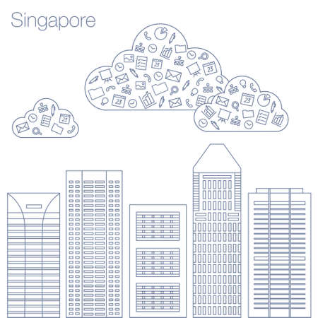 workshop seminar: Cloud technologies and services in the world wide web. Hackathon, workshop, seminar, lecture in the metropolis Singapore. The city is in a flat style for presentations, posters, banners.