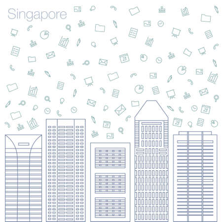 timing the market: Cloud technologies and services in the world wide web. Hackathon, workshop, seminar, lecture in the metropolis Singapore. The city is in a flat style for presentations, posters, banners.