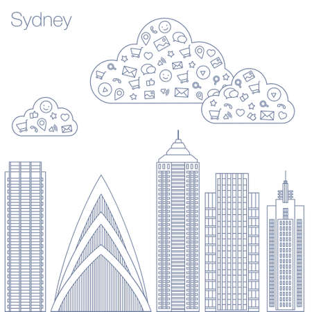 metropolis: Cloud technologies and services in the world wide web. Hackathon, workshop, seminar, lecture in the metropolis Sydney. The city is in a flat style for presentations, posters, banners.