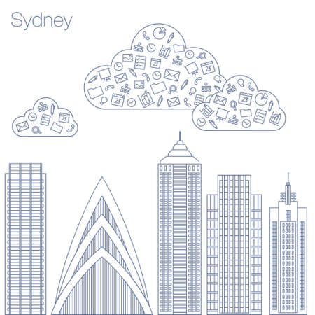 workshop seminar: Cloud technologies and services in the world wide web. Hackathon, workshop, seminar, lecture in the metropolis Sydney. The city is in a flat style for presentations, posters, banners.