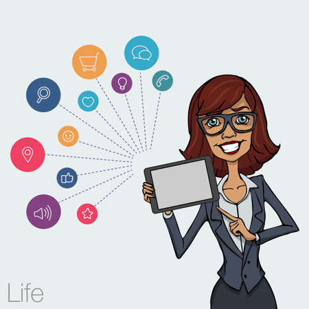 woman tablet: Illustration of an office  employee showing tablet screen for presentation applications. Tools for remote working via mobile devices. Woman with tablet pointing finger Illustration