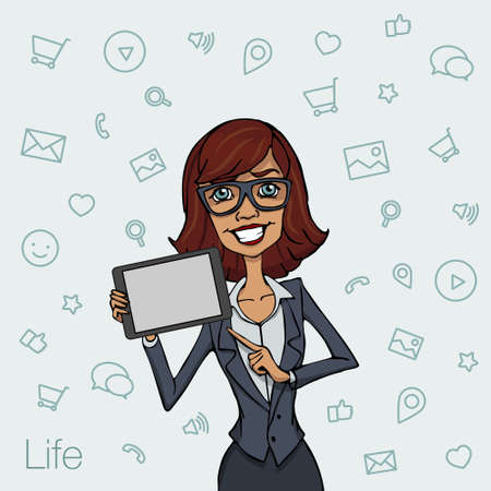 workday: Illustration of an office  employee showing tablet screen for presentation applications. Tools for remote working via mobile devices. Woman with tablet pointing finger Illustration