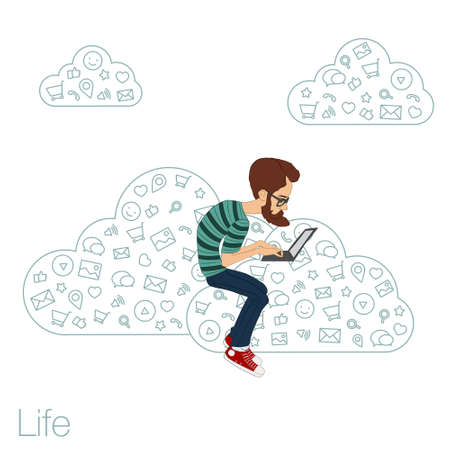 workday: Social networks and networking in the cloud services and technologies. Remote teamwork through apps in the web network. Illustration
