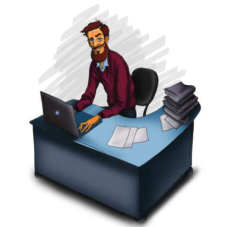 instant messaging: Work in office - project Manager, designer, programmer. Cloud technologies and services for remote team.  Illustration of working environment. Man in workplace with laptop Stock Photo