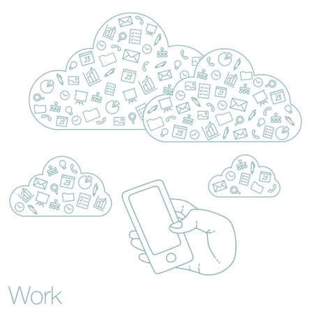 timing the market: Icons set in flat style on background. Illustration of cloud technology and services. Hand with a smartphone. Social media and networking in devices Illustration