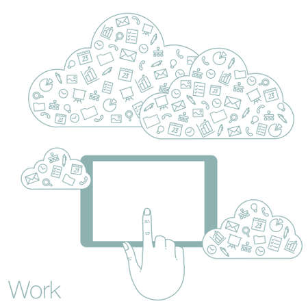 geolocation: Icons set in flat style on background. Illustration of cloud technology and services. Hand with a tablet. Social media and networking in devices