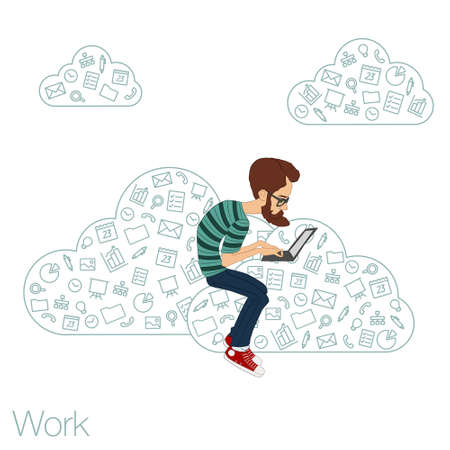 workday: Team networking in the cloud services and technologies. Remote teamwork through apps in the web network. Tools for working in the team Illustration