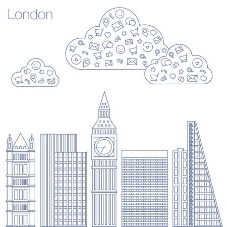workshop seminar: Cloud technologies and services in the world wide web. Hackathon, workshop, seminar, lecture in the metropolis London. The city is in a flat style for presentations, posters, banners. Illustration