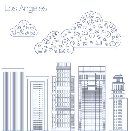 workshop seminar: Cloud technologies and services in the world wide web. Hackathon, workshop, seminar, lecture in the metropolis Los Angeles. The city is in a flat style for presentations, posters, banners. Illustration