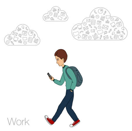 via: Online services in the smartphone. Entertainment and business via cloud technologies. Walking guy with a mobile phone. Icons applications smartphone.