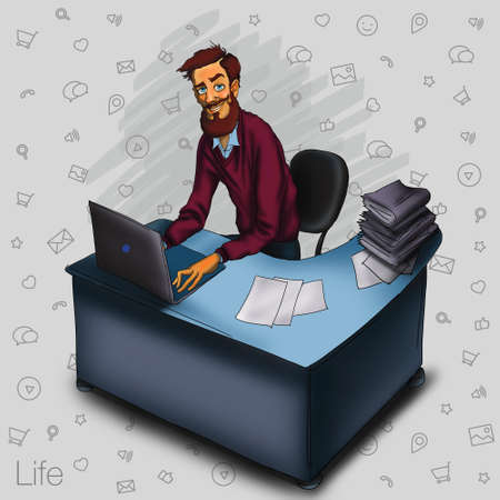 cartoon cloud: Work in office - project Manager, designer, programmer. Cloud technologies and services for remote team.  Illustration of working environment. Man in workplace with laptop Stock Photo