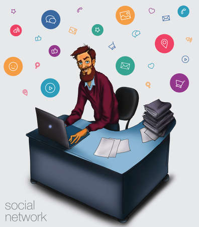 work environment: Work in office - project Manager, designer, programmer. Cloud technologies and services for remote team.  Illustration of working environment. Man in workplace with laptop Stock Photo