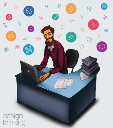 project manager: Work in office - project Manager, designer, programmer. Cloud technologies and services for remote team.  Illustration of working environment. Man in workplace with laptop Stock Photo
