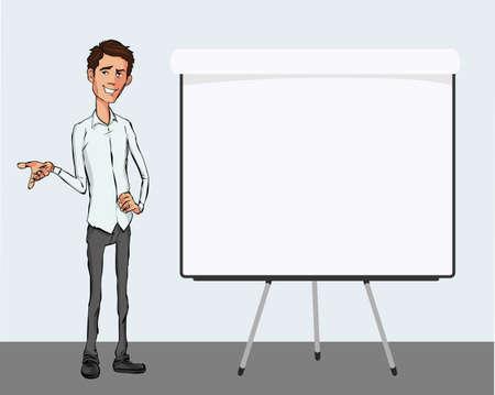 la parole d'affaires près du tableau. Présentation du produit de l'entreprise, projet, rapport à la conférence. L'homme en chemise raconte l'histoire. Raconter une histoire et un ensemble de caractères