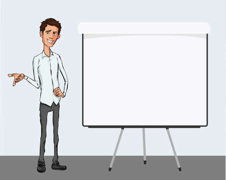 Business speech near the flip chart.  Presentation of business product, project, report at the conference. Man in shirt tells the story. Storytelling  and set of characters Illustration