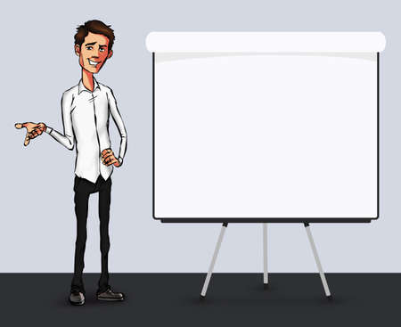 storytelling: Business speech near the flip chart.  Presentation of business product, project, report at the conference. Man in shirt tells the story. Storytelling  and set of characters Stock Photo