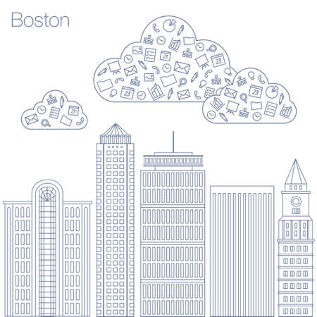 metropolis: Cloud technologies and services in the world wide web. Hackathon, workshop, seminar, lecture in the metropolis Boston. The city is in a flat style for presentations, posters, banners. Illustration