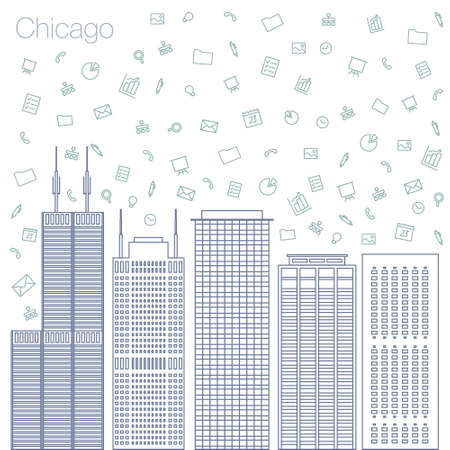 workshop seminar: Cloud technologies and services in the world wide web. Hackathon, workshop, seminar, lecture in the metropolis Chicago. The city is in a flat style for presentations, posters, banners. Illustration