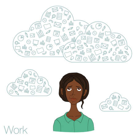 coworker: Team networking in the cloud services and technologies. Remote teamwork through apps in the web network. Tools for working in the team Illustration