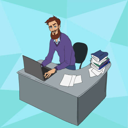 work environment: Work in office - project Manager, designer, programmer. Cloud technologies and services for remote team.  Vector illustration of working environment. Man in workplace with laptop Illustration