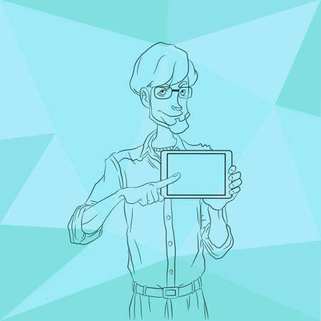 workday: Illustration of an office  employee showing tablet screen for presentation applications. Tools for remote working via mobile devices. Man with tablet pointing finger Illustration
