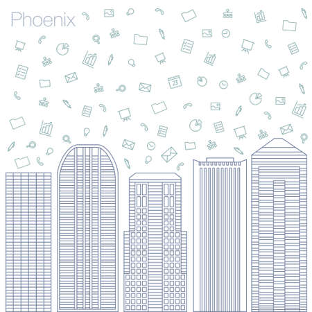 geolocation: Cloud technologies and services in the world wide web. Hackathon, workshop, seminar, lecture in the metropolis Phoenix. The city is in a flat style for presentations, posters, banners.