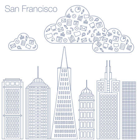 workshop seminar: Cloud technologies and services in the world wide web. Hackathon, workshop, seminar, lecture in the metropolis San Francisco. The city is in a flat style for presentations, posters, banners. Illustration