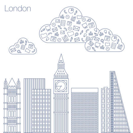 metropolis: Cloud technologies and services in the world wide web. Hackathon, workshop, seminar, lecture in the metropolis London. The city is in a flat style for presentations, posters, banners. Illustration
