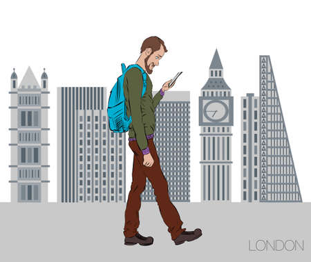 skylines: Online services on the smartphone. Entertainment and business through cloud technology. Man is walking in the city of London with a mobile phone. Vector illustration for presentation of mobile app