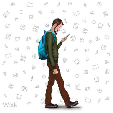 looking at computer: Online services in the smartphone. Entertainment and business via cloud technologies. Walking guy with a mobile phone. Icons applications smartphone. Vector illustration