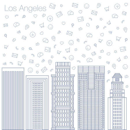 timing the market: Cloud technologies and services in the world wide web. Hackathon, workshop, seminar, lecture in the metropolis Los Angeles. The city is in a flat style for presentations, posters, banners. Illustration