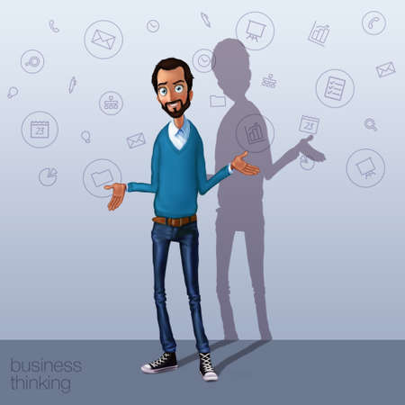 storytelling: Business speech near flip chart.  Presentation of business product, project, report at conference. Man in shirt tells the story. Storytelling  and set of characters. Cloud technologies and services Stock Photo