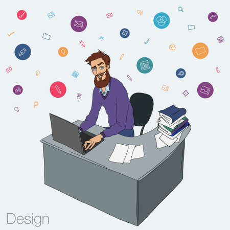 project manager: Work in office - project Manager, designer, programmer. Cloud technologies and services for remote team.  Vector illustration of working environment. Man in workplace with laptop Illustration