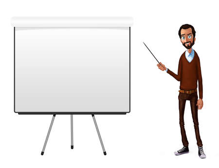 slide show: Business speech near flip chart.  Presentation of business product, project, report at conference. Man in shirt tells the story. Storytelling  and set of characters. Cloud technologies and services Stock Photo